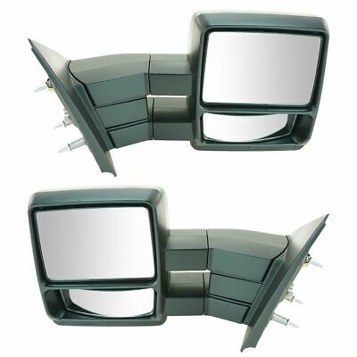 Mirrors Manual Towing Black Left LH & Right RH Pair Set for 04-11 Ford F150