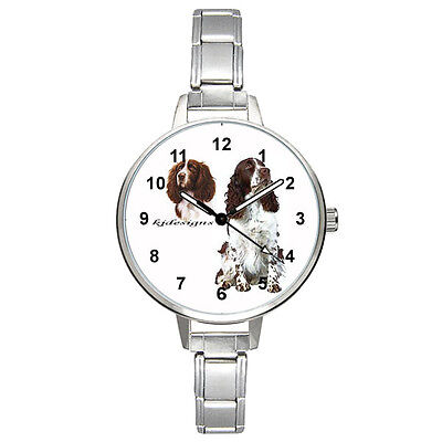 English Springer Spaniel Dog Italian Charm Bracelet Mens Ladies Wristwatch BM340