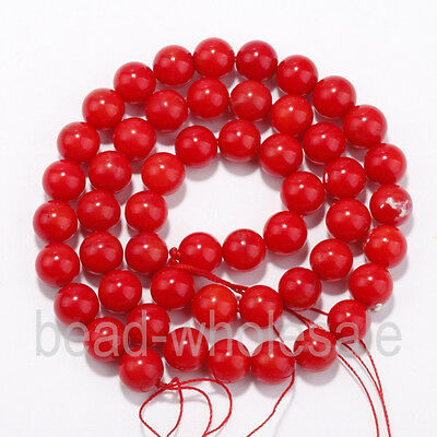 A Strand Red Natural Coral Gemstone Round Spacer Beads 16'' 4/6/8/10/12mm