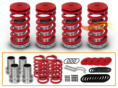 BCP 92-96 Honda Prelude Adjustable Lowering Coilover Coil Spring Suspension RED