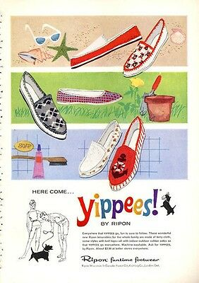 "1960 Ripon ""Yippees!"" Vintage Shoes PRINT AD"
