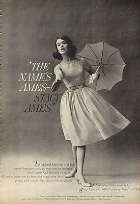 1960 Stacy Ames Women Fashion Clothes Dress PRINT AD