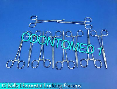 """10 Kelly Hemostat Locking Forceps Straight+Curved 8"""" Surgical Instruments"""