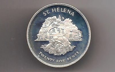 SAINT HELENA 1977 25 PENCE SILVER PROOF COIN