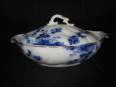"""VINTAGE FLOW BLUE-WH GRINDLEY """"DUTCHESS"""" COVERED VEGETABLE-BEAUTIFUL-CIRCA 1891"""
