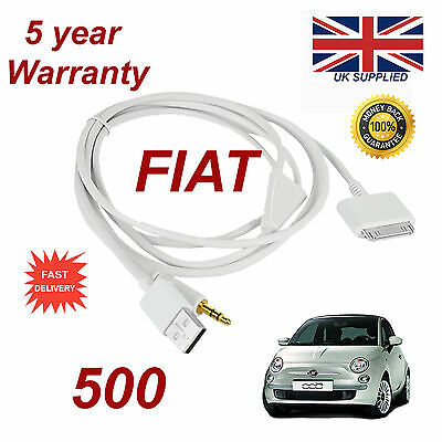 Fiat 500 LATEST blue&me 3gs 4 4s iPhone iPod USB Aux audio adapter Cable white
