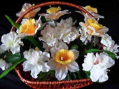 Brown wooden basket with daffodils