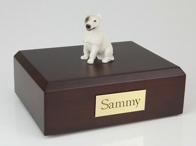 Bull Terrier, White Pet Funeral Cremation Urn Avail in 3 Diff Colors & 4 Sizes