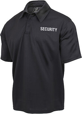 Black Security Guard Officer 2 Sided Moisture Wicking Golf Polo Shirt