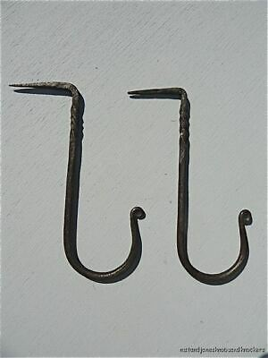 Pair Large Antique Style Handwrought Iron Hook Dresser Beam Hooks Hanger 17Th C