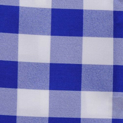"ROYAL BLUE & WHITE CHECKERED TABLECLOTH - 60"" x 60"" SQUARE - CHECKER OVERLAY"