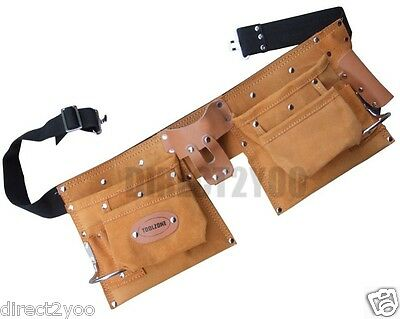 Heavy Duty Leather Double Tool Belt Pouch 10 Pocket 2 Hammer Loop Spanner Nail