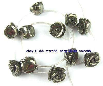 100% Natural Stereoscopic Flower Pyrite Beads 15.5''