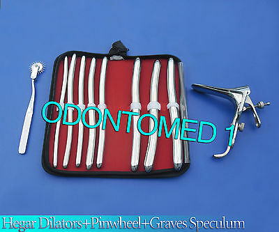 Hegar Dilator Sounds 8 Pcs +Wartenberg Pinwheel+ Graves Vaginal Speculum Large
