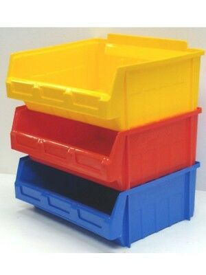 10 x SIZE 5 EX LARGE  PLASTIC STORAGE STACKING PICKING BINS BOXES COLOUR CHOICE