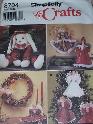 SIMPLICITY #8704- CHRISTMAS ANGEL TOPPER & ORNAMENTS - WREATH & BUNNY PATTERN uc