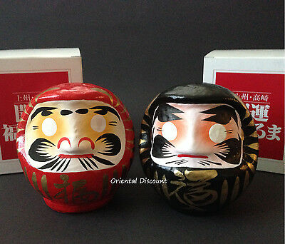 "Set of 2 PCS. Japanese 4.5""H Red Black Daruma Doll for Rich Health Made in Japan"