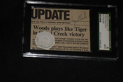 Tiger Woods Signed Autographed 1996 Newspaper Cut Rookie Signature Sgc Slabbed