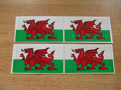 4x stickers 90mm x 50mm decals WALES / WELSH DRAGON FLAG
