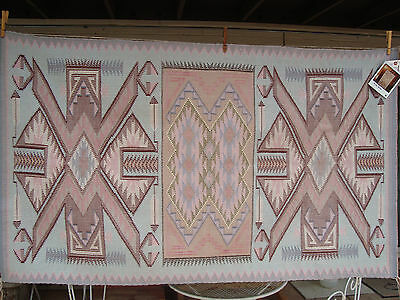 Navajo Woven Wool Rug 56 x 32.5 Rita Nez + Photo of weaver Estate MINT W/Tag