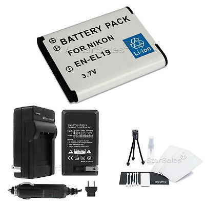 EN-EL19 Battery + Charger + BONUS for Nikon Coolpix S100 S5200 S3100 S4100 S4150