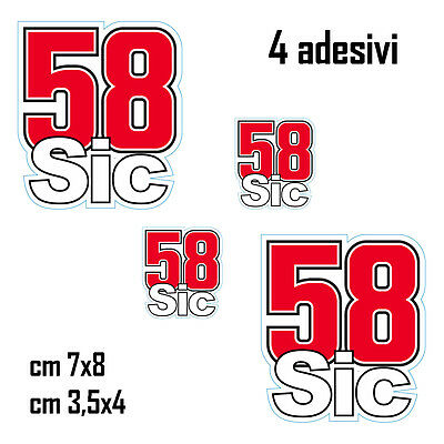 Kit 4 Adesivi Stickers Simoncelli 58 Sic Supersic...fantastici...verniciabili!