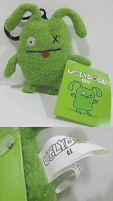 "RARE 1st GENERATION Looped Tush Tag!!! Green OX UGLYDOLL 4"" Clip-On Keychain!!!"