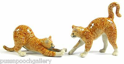 Miniature Ceramic Hand Painted Ginger Tabby Cats Playing - Set/2 Figurines