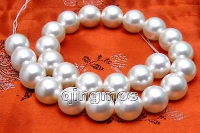 """SALE Big 16mm AAA GRADE White Round shell PEARL strands 15""""-los255 free shipping"""