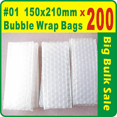 200 x #01 Bubble Wrap Bags 150x210mm Liners Fit for C5 envelope Auspost Quality