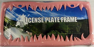 Pink Shark Teeth Metal License Plate Frame Tooth Auto Car Truck L391