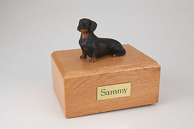 Black Dachshund Pet Funeral Cremation Urn Avail in 3 Different Colors & 4 Sizes
