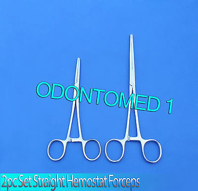 """New 2pc Set 9"""" + 10"""" Straight Hemostat Forceps Locking Clamps Stainless Steel"""