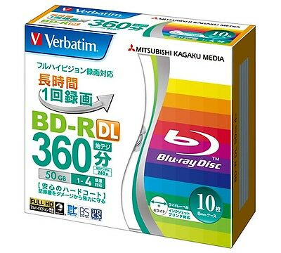 10 Verbatim Bluray Disc 50GB BD-R Dual Layer 4x Speed Inkjet Printable Blu ray