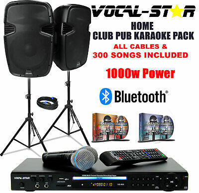 Vocal-Star Vs-800 Cdg Dvd Pa Home Party Karaoke Machine Speaker Set & 1200 Songs