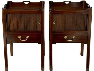 PAIR OF MAHOGANY GEORGIAN INFUENCED TAMBOUR FRONTED NIGHTSTANDS BEDSIDE TABLES