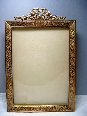 Antique French Empire Etched Gilt Ormolu Picture Frame~Laurel Leaves~Ribbon Bows
