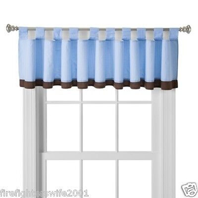 Circo Team Player Window Valance Blue Brown Tab Top 90x15 nwop