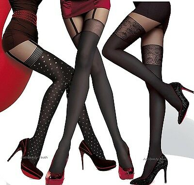 NEW MOCK SUSPENDER TIGHTS FIORE IMITATION HOLD UPS STYLE TIGHTS Collection new