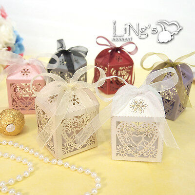 """2x2x2"""" Love Heart Laser Cut Gift Candy Boxes With Ribbon Wedding Party Favor Box"""