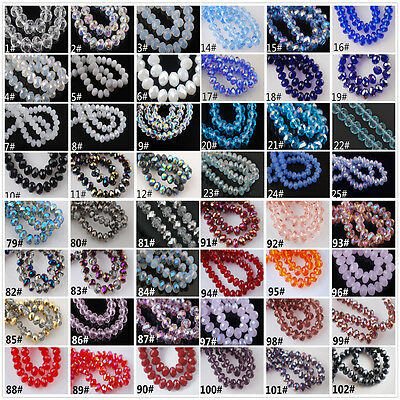 72pcs Glass Crystal Faceted Jewelry Diy Loose Finding Spacer Bead 6x8mm 120Color