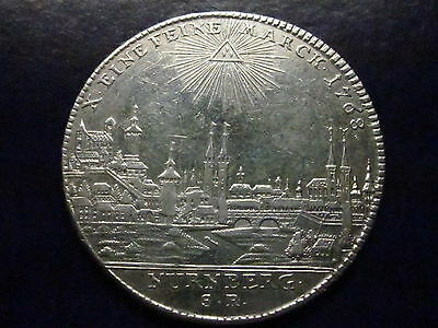 German States Nurnberg Thaler 1768 Rare City view silver
