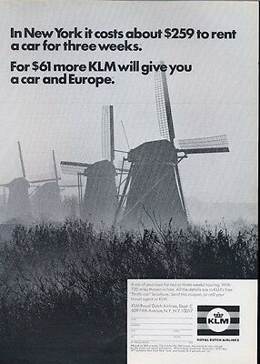 1969 KLM Royal Dutch Airlines Miniture Holland Windmills PRINT AD