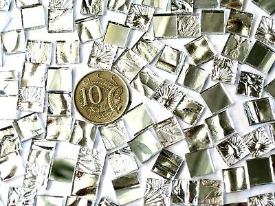 100 Mixed SILVER Mosaic Mirror Tiles 1cm x 1cm Art Craft