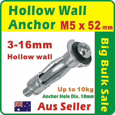 50 x M5 Hollow Wall Anchor Zinc Plated Dia. 10mm Suit 3-16mm Plasterboard 514