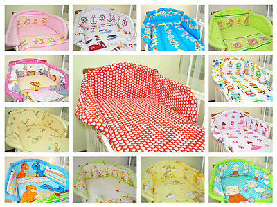 3 Piece Baby Bedding Set NurseryCot/Pillowcase/Padded Bumper/ MANY DESIGN