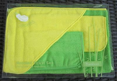 Bamboo Fiber 3 Pc Hooded Towel Set washcloths 4 COLOR COMBOS avail - Go GREEN
