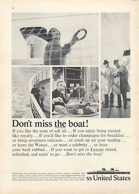 1965 United States Lines Cruise  PRINT AD