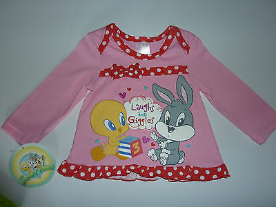 LOONEY TUNES Gorgeous Little Girls Pink Laughs and Giggles Top NWT