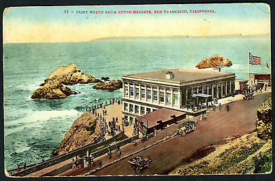 CLIFF HOUSE,SEAL ROCKS and AUTOS,SAN FRANCISCO~ORIGINAL POSTCARD w/1911 POSTMARK